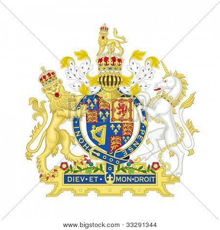 Lejon och unicorn på Svenska heraldiska vapen, isolerad på vit bakgrund.