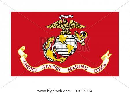 Flag of the United States Marine Corps; isolated on white background.