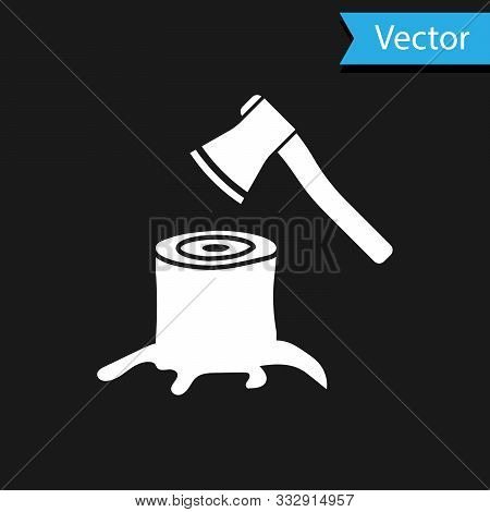 White Wooden Axe In Stump Icon Isolated On Black Background. Lumberjack Axe. Axe Stuck In Wood. Vect
