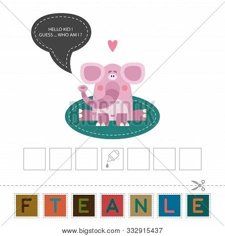 Fun Lessons For Kids - Diy! Card For Childrens Creativity And Learning. Funny Cute Elefant. Compose