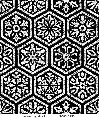 Seamless Ornament In Patchwork Style. Set Of Hand-drawn Hexagons. Black And White Print For Bohemian
