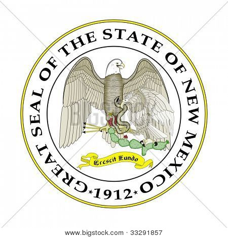 Seal of American state of New Mexico; isolated on white background.