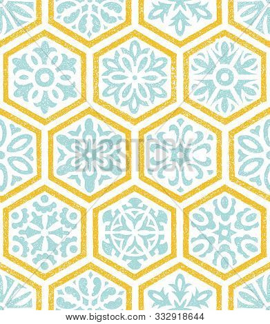 Ceramic Tile Seamless Pattern. Patchwork Style Ornament. Set Of Hand-drawn Hexagons.