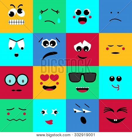 Flat Icon With Emoji. Modern Vector Illustration. Simple Geometric Texture. Business Vector Template