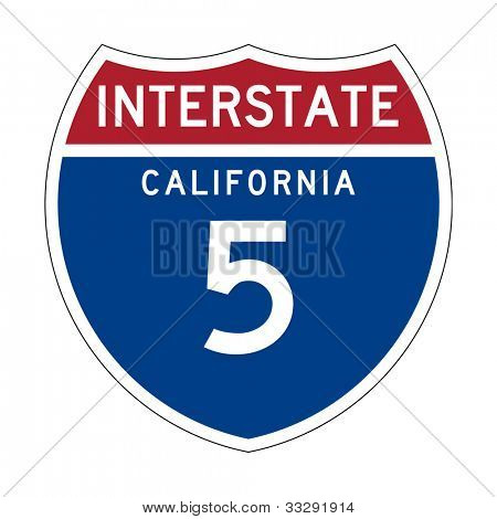 American California Interstate Highway number 5 sign or shield; isolated on white background.