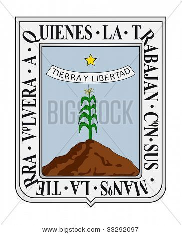Coat of arms of Mexican state of Morelos; isolated on white background. poster