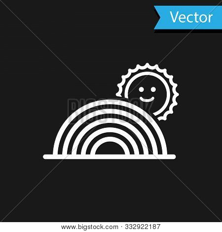 White Rainbow With Sun Icon Isolated On Black Background. Vector Illustration