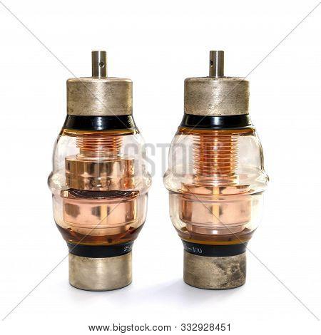 Two High Voltage Vacuum Capacitors. Glass Vacuum Capacitor Insulated, Powerful. Medium High Voltage