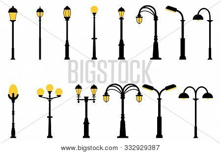 Set Of Street Lights Black Silhouette Isolated On White Background. Collection Of Modern And Vintage