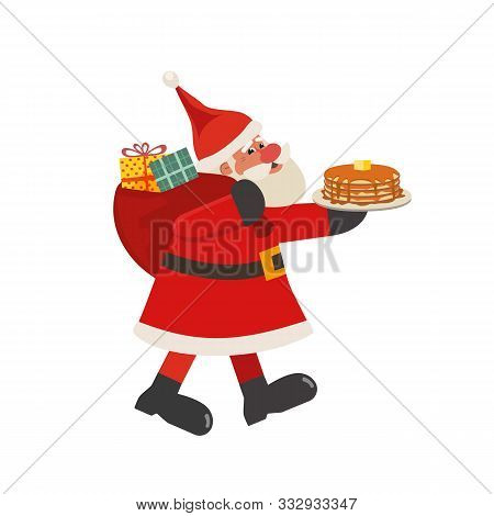 Santa Claus With Pancakes Flat Vector Icon Isolated On White. Cartoon Cute Father Christmas. Fun Bre