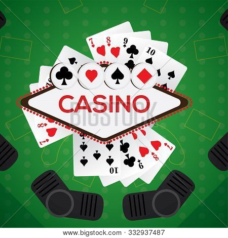 Blackjack Board With Poker Cards - Casino Vector Illustration