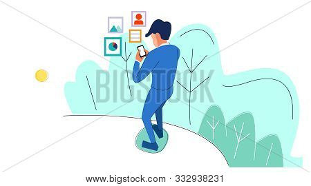 Vector Illustration Of A Busy Businessman With Work On His Cellphone. File Management In Business Fi