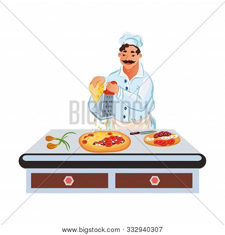 Professional Chef In White Uniform Makes Pizza On The Table. Vector Illustration In Flat Cartoon Sty