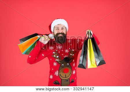 Christmas Gifts. Guy In Christmas Sweater With Deer. Organized Shopper. Compulsive Buyer. Retail. Al