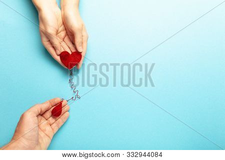 Blood Donor. Hands With Red Heart And Drop. Medical Donation And Blood Transfusion.