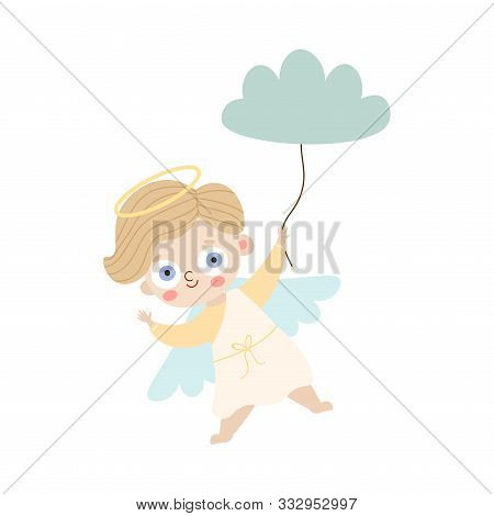 Angel With Wings And Halo Holding Cloud Balloon Vector Illustration