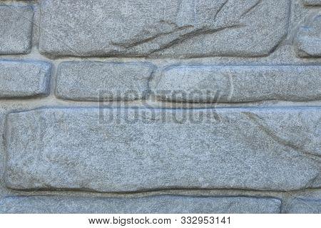 Gray Background. Gray Brick Texture. Horizontal Lines.