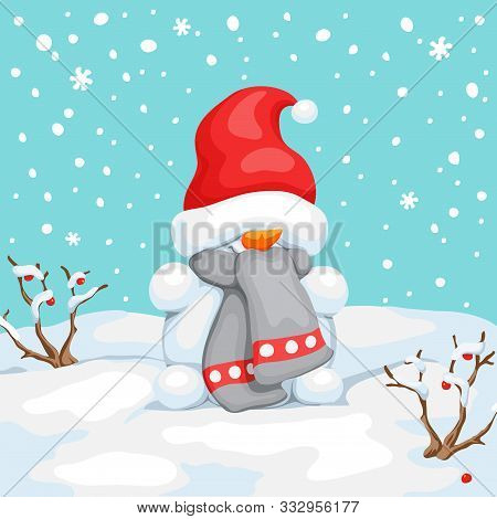 Vector Snowman With Hat On Eyes. Snowman Greeting. Cute Christmas Greeting Card With Snowman. Greeti