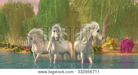Unicorns And Flowers 3d Illustration - A Unicorn Stallion And Two Mares Cool Off In A Summer Stream