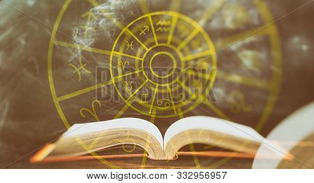Zodiac Signs Set Over An Open Book, Abstract Background.