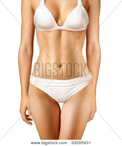 body of woman on white background