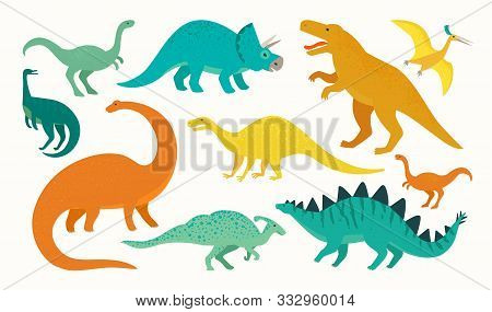 Cartoon Dinosaur Set. Cute Dinosaurs Icon Collection. Colored Predators And Herbivores. Flat Vector
