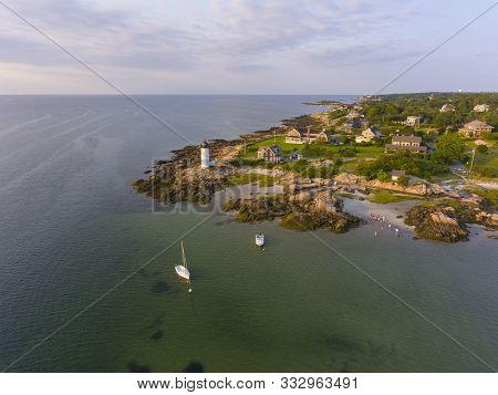 Annisquam Harbor Lighthouse Aerial View, Gloucester, Cape Ann, Massachusetts, Usa. This Historic Lig