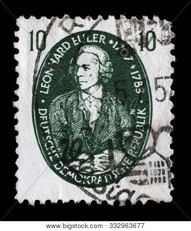 ZAGREB, CROATIA - SEPTEMBER 05, 2014: A stamp issued in Germany - Democratic Republic (DDR) shows Leonhard Euler, mathematician, physicist, astronomer, logician and engineer, circa 1957.