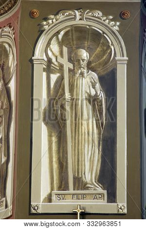 IVANIC GRAD, CROATIA - SEPTEMBER 25, 2011: Saint Philip the Apostle, fresco in the church of the Saint Peter in Ivanic Grad, Croatia