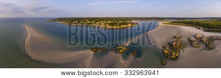 Wingaersheek Beach Panorama Aerial View At Sunset In Gloucester, Cape Ann, Massachusetts, Usa.