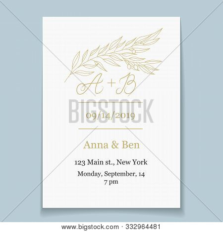 Save The Date Card Template. Gold Olive Branch Wedding Logo. Elegant Floral Hand Drawn Design For In