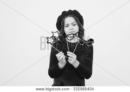 Party Shop. Accessory For Celebration. Happy Little Child Glasses Props. Funny Small Girl Holding Gl