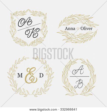 Elegant Floral Monograms And Borders. Design Templates For Wedding Invitations, Menus, Save The Date