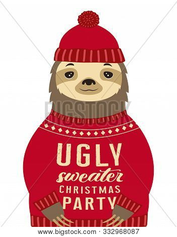 Sloth Dressed Up In Hat And Funny Warm Pullover With Lettering Ugly Sweater Christmas Party Isolated