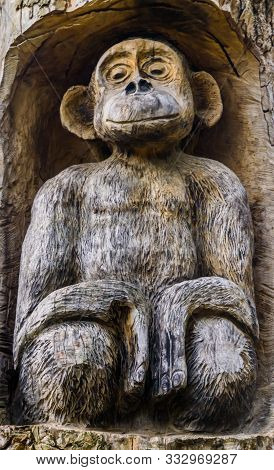 Beautiful Carved Wooden Monkey Sculpture, Wood Artwork, Zoo And Garden Decorations