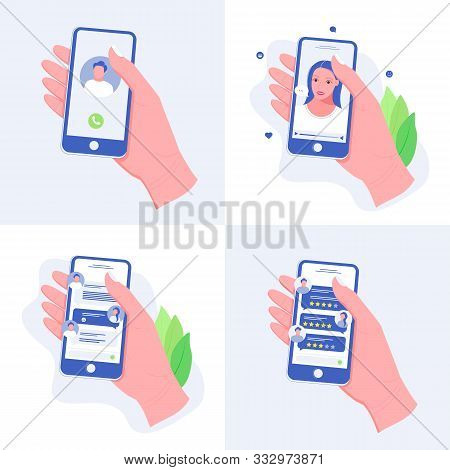 Hand With Phone Set. Hand Holding A Smart Phone. Video Chat, Phone Call, Chatting And Rating Apps. M