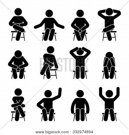 Sitting On Chair Stick Figure Man Different Poses Pictogram Vector Icon Set. Boy Silhouette Seated H