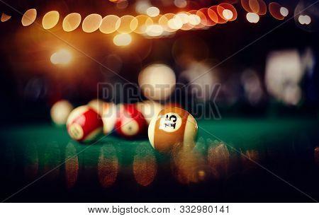Billiard Ball With Number Fifteen On A Green Billiard Table. Gambling Game Of Billiards.