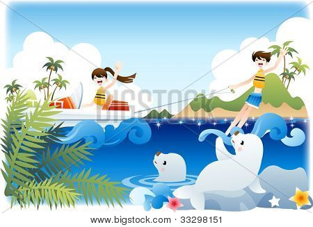 Summer Vacation and Happy Travel - enjoy extreme sports with cute smiling young female and male in beautiful tropical island resort on a background of blue sky and shiny water : vector illustration