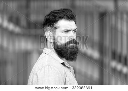 Be Your Best. Brutal Caucasian Hipster. Serious Bearded Man Outdoor. Mature Hipster With Beard. Bear