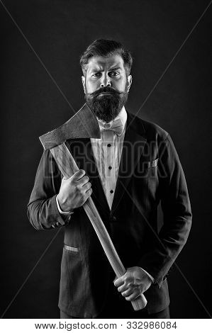 Resoluteness Concept. Decision Was Made. Man Brutal Hipster With Axe. Sharp Ax Hand Confident Guy. M