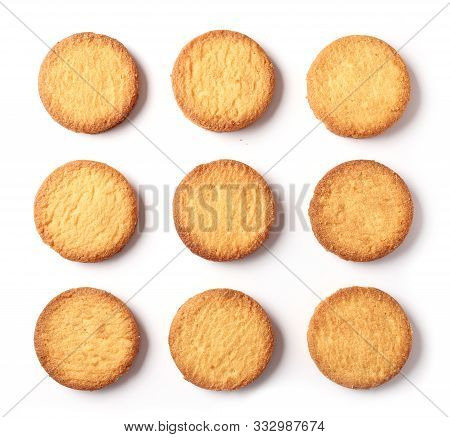 Butter Cookies Isolated On White Background Top View