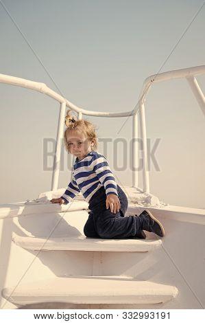 Child Sailor. Boy Sailor Travelling Sea. Boy Sailor Striped Shirt Sea Yacht Travel Around World. Lit