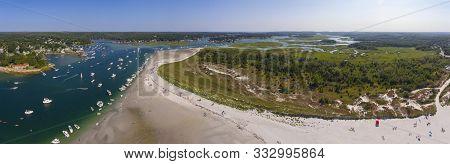 Wingaersheek Beach Panorama Aerial View In Gloucester, Cape Ann, Massachusetts, Ma, Usa.
