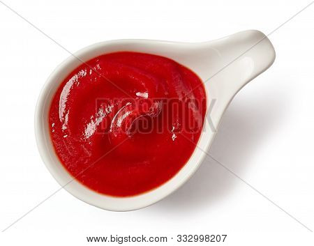 Bowl Of Tomato Sauce Ketchup Isolated On White Background, Top View
