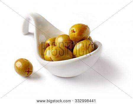Bowl Of Olives Isolated On White Background