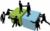 Business team help facilitate company deal partnership merger or collaboration poster