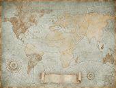 Blue vintage world map illustration based on image furnished by NASA poster