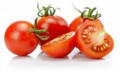 Tomato in cut with leaf for packaging and label. Still life harvest vegetable. Healthy food organic foodstuff. Isolated on white background. poster