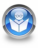 E-learning icon on glossy blue round button poster